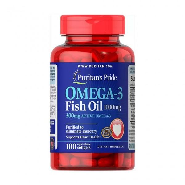 Puritans Pride Omega -3 Fish Oil 1000 mg - 100 Softgels