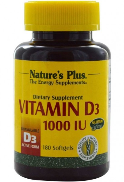 Natures Plus Vitamin D3 - 1000 IU - 180 Softgels