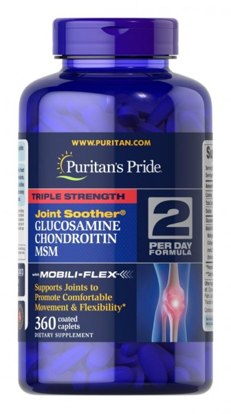 Puritans Pride Triple Strength Glucosamine, Chondroitin & MSM Joint Soother® – 360 Coated Caplets