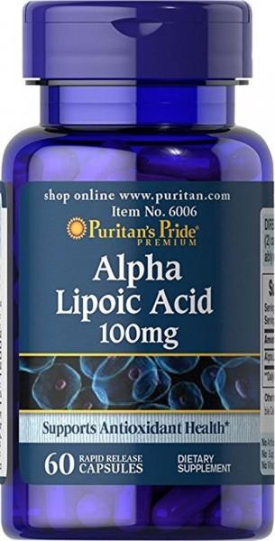 Puritans Pride Alpha Lipoic Acid ( Alpha- Liponsäure) 100 mg 60 Kapseln