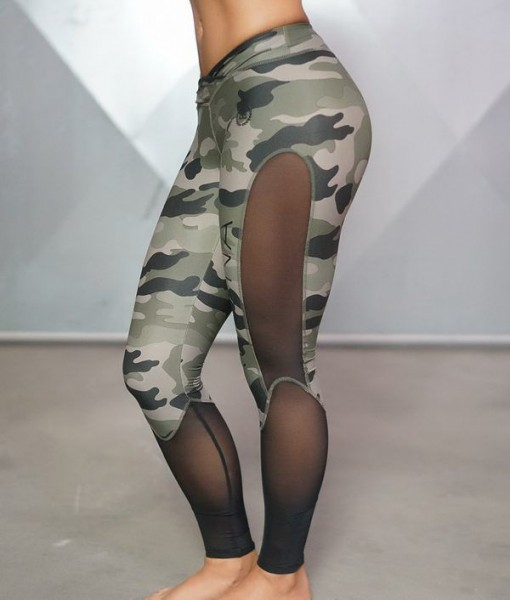 Body Engineers Athena Camo Legging - Olive Green & Black