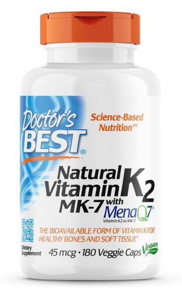 Doctor's Best Natural Vitamin K2 MK-7 mit MenaQ7, 45 mcg - 180 veg. Kapseln