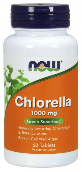 Now Foods- Chlorella 1000 mg- Green Superfood- 60 Tabletten