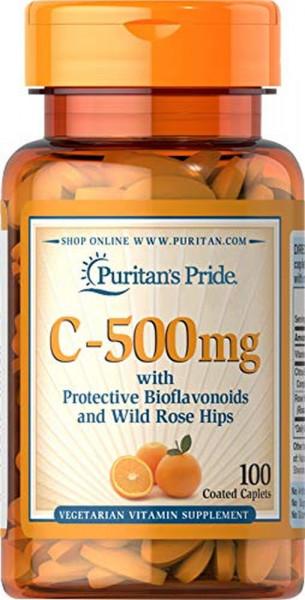 Puritans Pride C-500 mit Bioflavonoide und Hagebutte - 100 Capletten