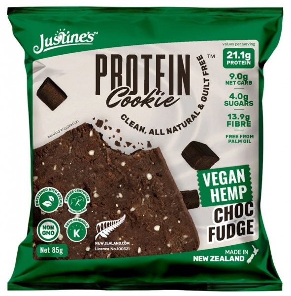 Justines Vegan Hemp Protein Cookie - 1 x 85 g, Choc Fudge
