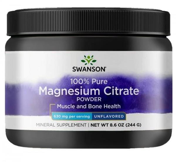 Swanson 100% Pure Magnesium Citrate Powder- 244g