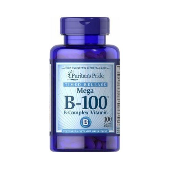 Puritans Pride Mega B-100 Vitamin B-Complex 100 Coated Caplets